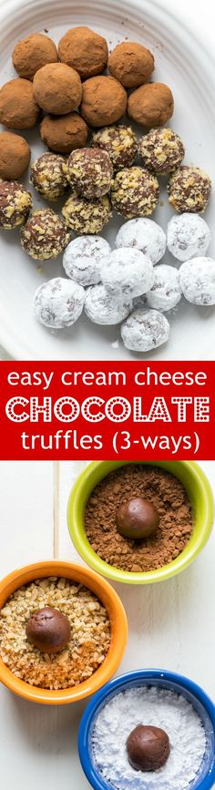 Homemade chocolate truffles are so easy to make! These chocolate truffles have a cream cheese base and are completely irresistible! | natashaskitchen.com