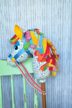 Hobby horse boys girls unisex bright rainbow by Pigeon Pair Designs Kids Pillows, Animal Pillows, Sewing For Kids, Diy For Kids, Stick Horses, Bible Crafts For Kids, Horse Party, How To Make Toys, Fabric Animals
