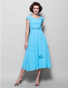 Cheap A-line Jewel Tea-length Chiffon Mother of the Bride Dress  Free Measurement