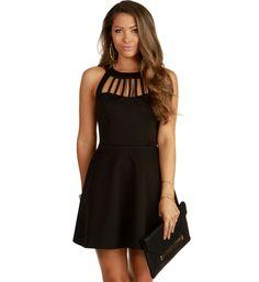 Black Caged Scuba Skater Dress