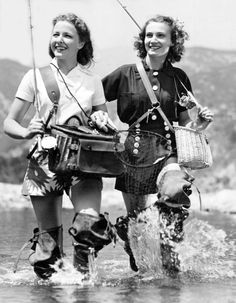 Laraine Day and Jo Ann Sayers go trout fishing in Big Tujunga Canyon, California. May, 1939. Both ladies were American Actresses in the 1940's starring in Dr Kildare movies.