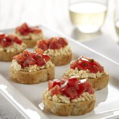 Tofu Tomato Bruschetta ** Mash or crumble our Pressed Tofu in place of feta cheese to make this a dairy-free take on this Italian favourite! Tofu Recipes, Vegetarian Recipes, Tomato Bruschetta, Tofu Dishes, Perfect Food, Yummy Treats, Dairy Free, Tasty, Snacks