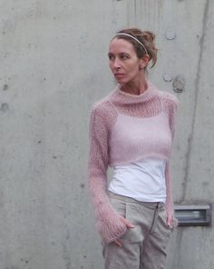 pink sweater / cropped sweater /  Soft pink kid mohair and silk sweater