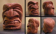 Maori Tiki Face 2 by tflounder on DeviantArt Totem Tiki, Tiki Man, Tiki Tiki, Tiki Faces, Colombian Art, Tiki Statues, Hawaiian Art, Wood Sculpture, Clay Sculptures