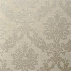 Grey and Silver Linen Texture Damask Wallpaper ladies bathroom