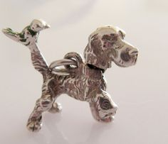 Silver Moving Dog and Bird Charm by TrueVintageCharms on Etsy