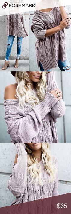 Mauve Chunky Cable Knit Sweater PREORDER❣️ Mauve Chunky Cable Knit Sweater. 100% Cotton Price is Firm No Trades Glamvault Sweaters
