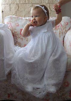 ESTERA Christening Gown , Lace Baptism Gown, Baptism dress, Christening set