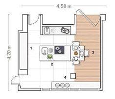 Resultado de imagen para plano cocina isla central - Planos de cocinas ...