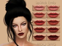 The Sims 4 Lipstick Emily Sims 4 Teen, Sims Cc, The Sims 4 Skin, Sims 4 Cc Eyes, The Sims 4 Cabelos, Sims 4 Gameplay, Sims 4 Cc Packs, Lipstick Designs, Sims 4 Cc Makeup