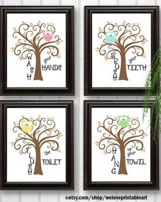 Kids OWLS Bathroom Decor Art Bathroom Artwork Printable Art Print Instant  Download Bathroom Wall Quote Sign Wash Your Hands