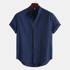 Men Linen Stand CollarSolid Color Short-sleeved Shirts Mens Vintage Shirts, Kurta Men, Indian Men Fashion, Color Shorts, Henley Shirts, Printed Shirts, Shirt Style, Shirt Designs, Men Casual