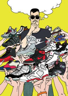 My 2012 artworks by Jungyoun Kim, via Behance Sneaker Posters, Trap Art, Supreme Wallpaper, Nba Wallpapers, Hypebeast Wallpaper, Sneaker Art, Chef D Oeuvre, Dope Art, Illustrations And Posters