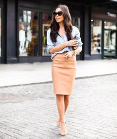 Pencil skirt with casual button up