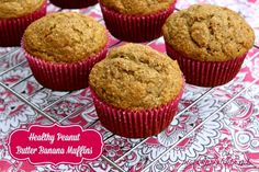 Mommy's Kitchen - Home Cooking & Family Friendly Recipes: Healthy Peanut Butter Banana Muffins #muffins #peanutbutter #bananas