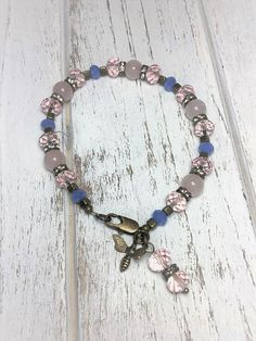 Pink Beaded Bracelet  Pastel Beaded Bracelet  Beaded