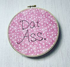 Perhaps the most SUPER romantic thing you could ever tell someone - or give to someone - in the form of a 6 inch embroidery hoop. ;) Funny Embroidery, Romantic Things, 6 Inches, Hoop, Coin Purse, Wallet, Trending Outfits, Unique Jewelry, Handmade Gifts