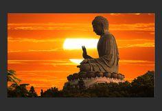 Stampa su tela Statua di Buddha al tramonto