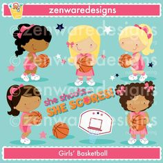 These cute basketball girls clipart characters are so sweet! Set includes five basketball girls, basketball, basketball goal clipart, and stars clipart. Precious basketball graphics for the perfect cards, tote bags and monogramming! This set is wonderful for party invitations and notepads. The simple lines are great for embroidery as well!