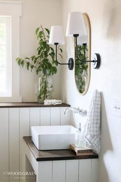 See our downstairs bathroom reveal and how we transformed this space into a functioning bathroom! I've included all of the room sources as well. Downstairs Bathroom, Bathroom Hooks, Sales And Marketing, Wood Grain, Farmhouse Style, Diy Home Decor, Home And Garden, Diy Projects, Diys