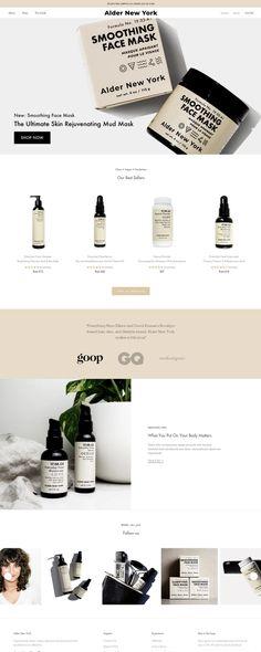 Alder New York - Clean, Vegan Skincare & Haircare for All Genders Web Design Trends, Design Ios, Graphic Design Tips, Flat Design, Design Responsive, Ecommerce Website Design, Homepage Design, Website Layout, Web Layout