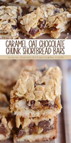 Caramel Oat Chocolate Chunk Shortbread Bars These easy and delectable caramel oat chocolate chunk (or chocolate chip!) shortbread bars are amazing! Try one warm with a scoop of vanilla ice cream – so yummy! Dessert Simple, Köstliche Desserts, Dessert Recipes, Bar Recipes, Detox Recipes, Cream Recipes, Brownie Recipes, Cookie Recipes, Shortbread Bars