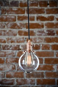 "Free Shipping! Plug In Pendant Lighting Copper - 6"" Clear Glass Globe - Cloth Wire -  Edison Bulb Compatible"