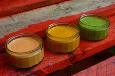 3 Peruvian salsas: crema de aji rocoto, salsa de aji amarillo and salsa verde