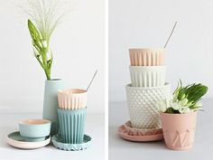 Contemporary Dutch ceramics by Lenneke Wispelwey feature fresh pastel colours, geometric faceted patterns, and contrasting biscuit and glazed porcelain. Kitsch, Cerámica Ideas, Miss Moss, Blog Deco, Pretty Pastel, Inspirational Gifts, Ceramic Pottery, Geometric Shapes, Home Deco