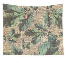 Wall Tapestry Oak Tree Leaves And Acorns, Autumn Vintage Dictionary Art Moro