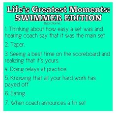 Life's Greatest Moments: Swimmer Edition <<<< THIS IS THE MOST LEGIT THING IVE EVER READ EVER