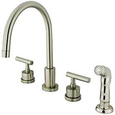 Kingston Brass Manhattan Double Handle Widespread Kitchen Faucet with Non-Metallic Spray Finish: Satin Nickel Kitchen Faucet With Sprayer, Black Kitchen Faucets, Kitchen Fixtures, Faucet Handles, Kitchen Handles, Manhattan, Brushed Nickel Faucet, Bar Faucets, Kingston Brass
