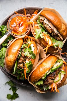 We love burgers, and we love banh mi. Therefore it was only a matter of time before this banh mi burger recipe—a positively irresistible hybrid of the two—was born. Pork Recipes, Asian Recipes, Cooking Recipes, Healthy Recipes, Grill Recipes, Jam Recipes, Sandwich Recipes, Kitchen Recipes, Pizza Recipes