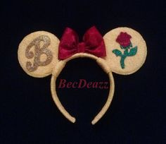 Hey, I found this really awesome Etsy listing at https://www.etsy.com/listing/177393860/disney-belle-minnie-mouse-ears-headband