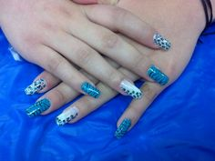 Animal print blue/ tip nails