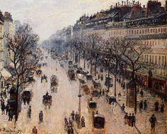 ArtWall 4 Piece Camille Pissarros The Avenue De lOpera Paris Winter Morning Floater Framed Canvas Set 36 x 48