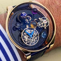 REPOST!!!  Playing with the stunning @jacobandco Astronomia Solar! Don't hesitate to zoom to closely look at the dial details! 🌀👍😊  Photo Credit: Instagram ID @equationdutemps