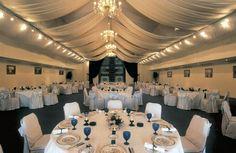 classy, a bit boring, blue carpet warms it up http://www.mainlineupholstering.com/banquet_hall_elegant_blue.jpg