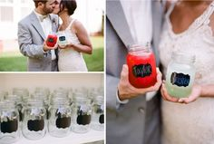 Wedding Day Idea + Seating Chart + Gift -- The mason jars are cute, but you could easily use wine glasses or another type of glass with chalkboard labels. You could have them on the tables so people know where to sit, and then people could take them home as favors. I love this idea!