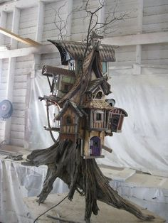Pin by Lisa Franks on Fairy posts Wooden Bird Houses, Bird Houses Diy, Fairy Tree Houses, Fairy Garden Houses, Gnome House, Witch House, Barn Crafts, Birdhouse Designs, Unique Birdhouses