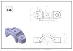 Orthographic Drawing, Cad Drawing, Drawing Practice, Technical Drawing, Autocad, Planer, 2d, Exercises, Engineering