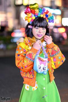 Orange Bomber Jacket w/ Multicolored Prints – Tokyo Fashion News Tokyo Fashion, Fashion News, Orange Bomber Jacket, Neon Green Dresses, Tokyo Street Style, Headdress, Harajuku, Prints, Jackets