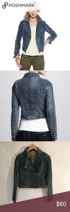 Free People 2 Chevron Denim Embroidered Jacket Free People 2 Chevron Denim Embroidered Jacket. Fun motorcycle style jean jacket with embroidered design. Flap collar. 2 pockets. Zip closure. Zippers on cuffs. Never worn. Excellent condition. Size 2. Pit to pit 18in. Length 21in. Free People Jackets & Coats Jean Jackets