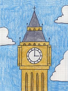 Draw Big Ben – Art Projects for Kids Easy Drawings For Kids, Drawing For Kids, My Drawings, Drawing Ideas, Drawing Drawing, Art Lessons For Kids, Art For Kids, Big Ben Clock, Ecole Art