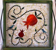 Mosaic pomegranate tray.