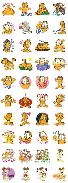The lazy cat is out on the prowl! Garfield is here with his friends, ready to bring some cattitude into your day with these fun stickers! Garfield Cartoon, Garfield Quotes, Garfield And Odie, Garfield Comics, Garfield Wallpaper, Cartoon Wallpaper, Images Snoopy, Garfield Pictures, Mickey Mouse Art