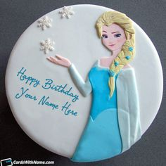 Write Your Name On Beautiful Princess Elsa Birthday Cake For Girls With Print Or Edit Lovely Happy Cakes And Generate Photo
