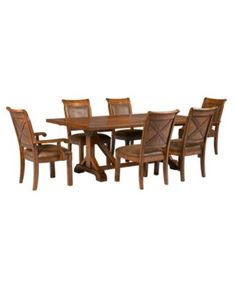 Mandara 7 Pc Dining Set Trestle Table 4 Side Chairs 2 Arm