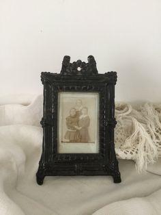 French antique Small frame In pressed metal black Painted finish 19th de la boutique VintagedeFrance sur Etsy