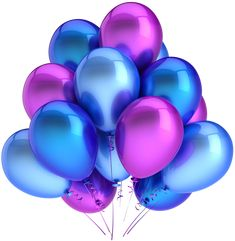 Transparent Blue and Pink Balloons Clipart